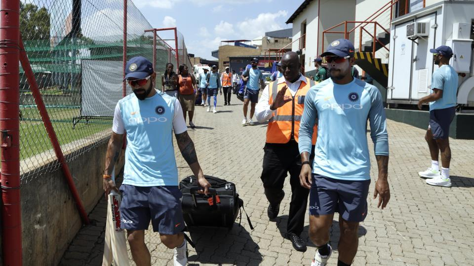Indian cricket team arrive for the practice session at Supersport Park. (AP)
