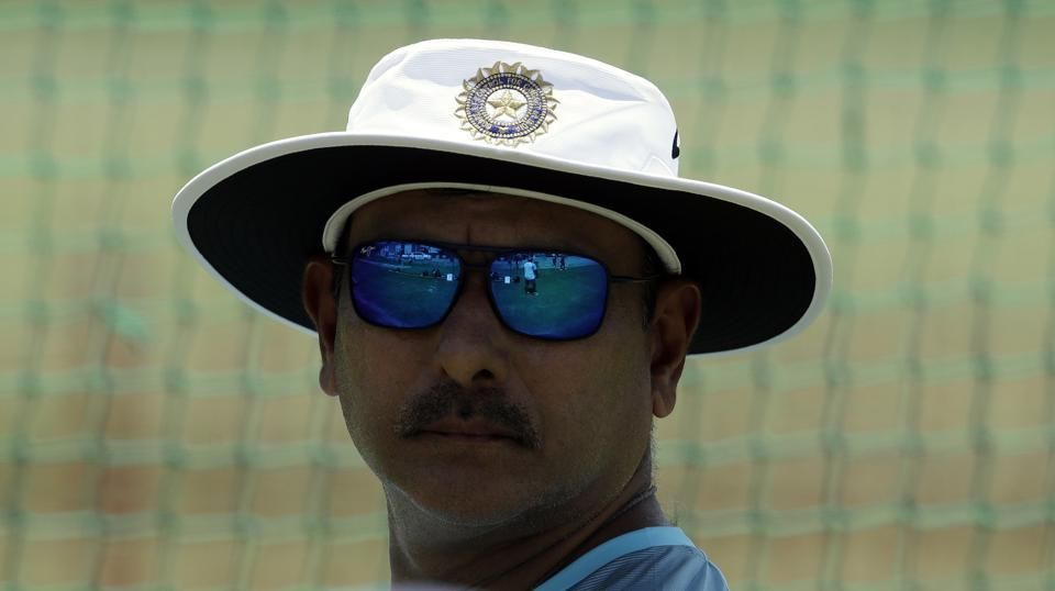 India's coach Ravi Shastri closely monitors the practice session at Supersport park in Centurion. (AP)