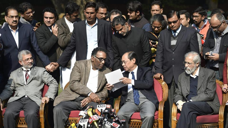 Supreme Court judge Jasti Chelameswar along with Justice Ranjan Gogoi, Madan Lokur and Kurian Joseph during a press conference in New Delhi on Friday.