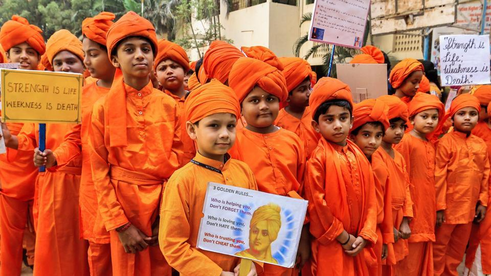 Children celebrate 155th birth anniversary of Swami Vivekananda, one of the India's most revered spiritual in Chennai. (PTI)