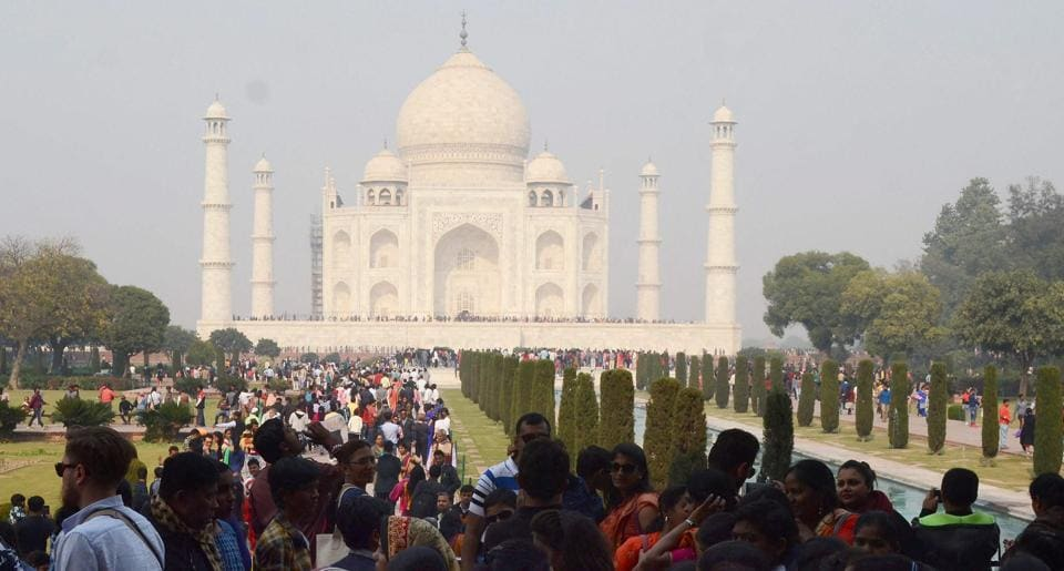 Visitors at Taj Mahal in Agra on January 9.