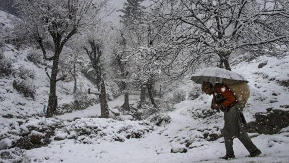 An elderly man, carrying a load on his back, walks on a snow covered road during snowfall at Tangmarg in Baramulla district of north Kashmir.