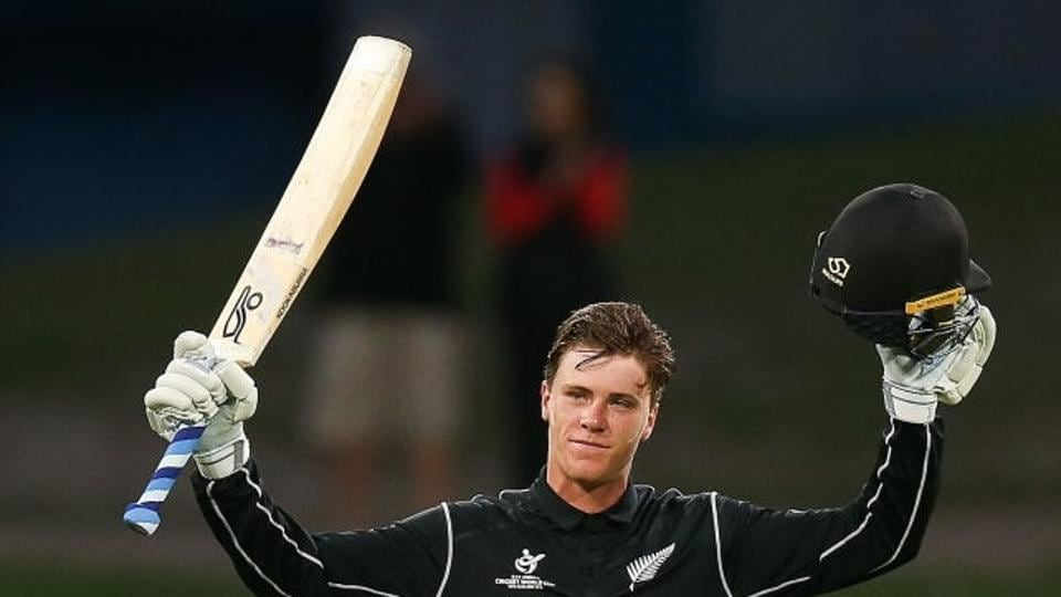 Finn Allen of New Zealand U-19 cricket team celebrates his century during the ICC U-19 Cricket World Cup match against the West Indies U-19 cricket team at Bay Oval on Saturday.  Get full scorecard and highlights of the New Zealand vs West Indies, ICCU-19 Cricket World Cup match, here.