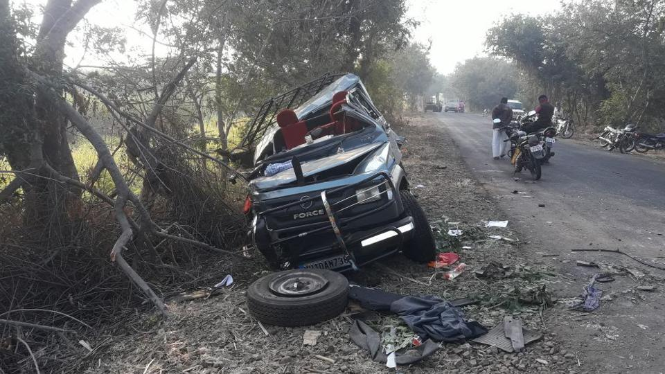 The SUV that was rammed by a tractor in Sangli district in western Maharashtra early on Saturday.