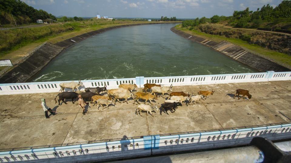 Canal of Sardar Sarovar Dam on the Narmada river in Gujarat.
