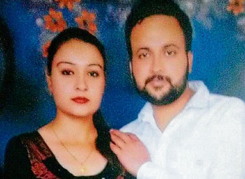 Sukhjeet Singh with wife Gurmeet Kaur in a photo from their wedding album.