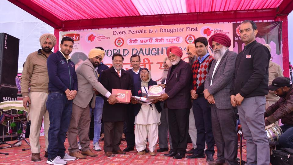 Athlete Mann Kaur being given the 'Dhee Punjab Di' award in Sangrur on Friday.