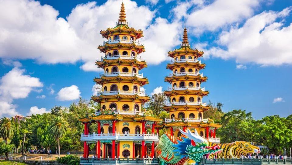 Lotus Pond's Dragon and Tiger Pagodas in Kaohsiung, Taiwan.