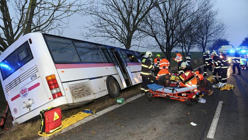 A general view of a bus crash aftermath in Horomerice, the suburbs of Prague, Czech Republic, January 12, 2018 in this picture obtained from social media.