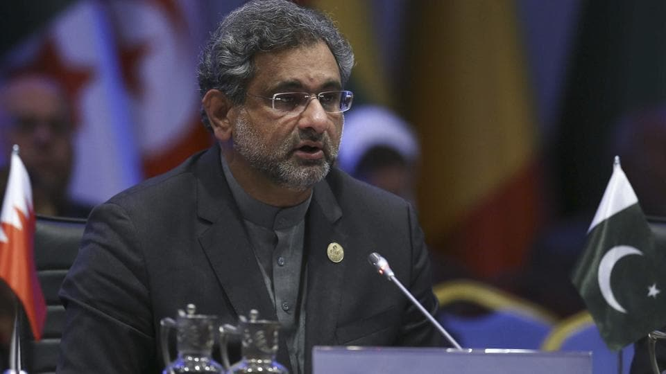 Pakistan's Prime Minister Shahid Khaqan Abbasi addresses the Organisation of Islamic Cooperation's Extraordinary Summit in Istanbul, December 13, 2017.