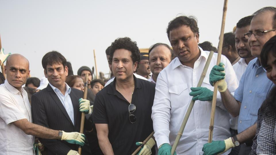 Sachin Tendulkar takes part in the inauguration of the Chimbai beach clean-up in Mumbai.