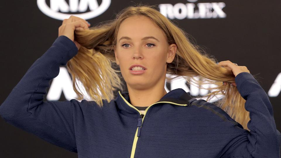 Denmark's Caroline Wozniacki during a press interaction at the Australian Open tennis championships in Melbourne, Australia, on Saturday.