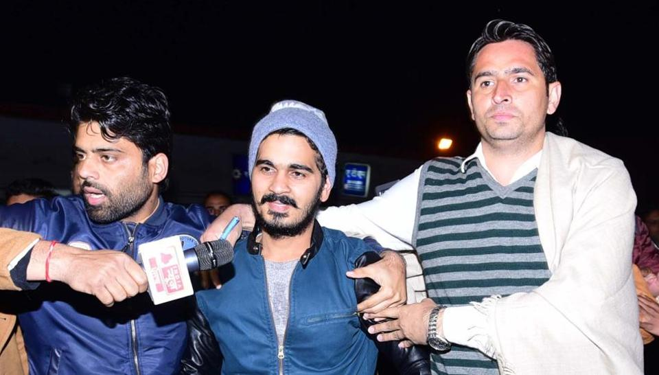 Vikas Barala (centre) after being released from the Burail jail in Chandigarh on Friday.