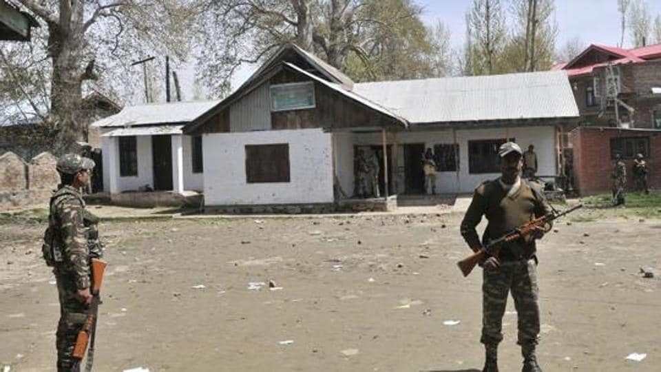Two persons were injured on Saturday in Srinagar district when soldiers fired at a vehicle.