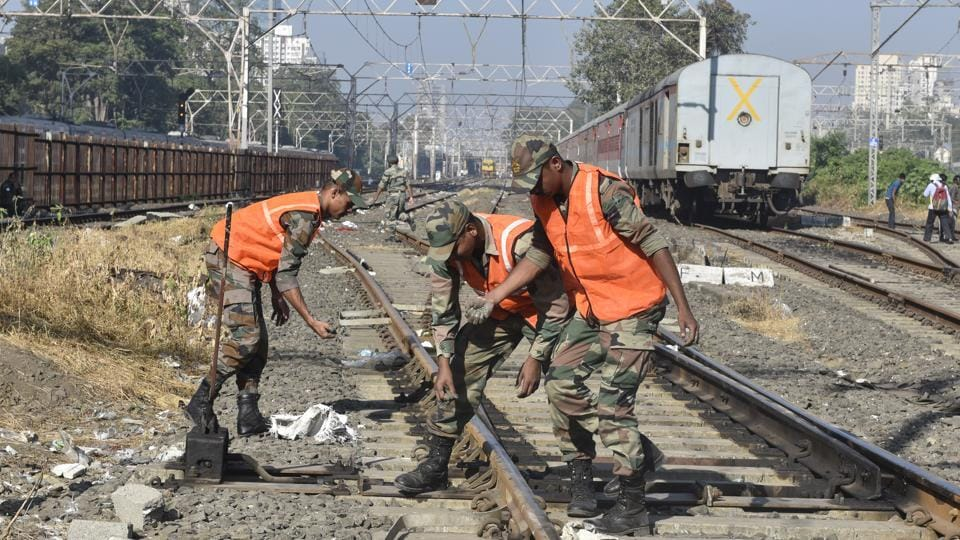 Army personel started the construction of Railway bridge at Elphinstone Railway station in Mumbai, India, on November 23, 2017.