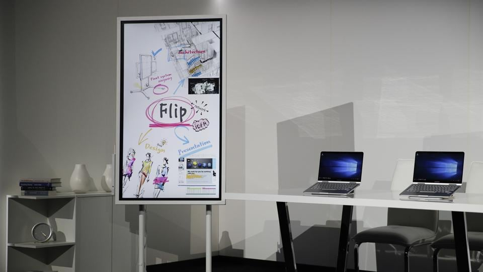 The Samsung Flip digital whiteboard and the Notebook 9 Pen tablets are displayed during a news conference at CES International  in Las Vegas.