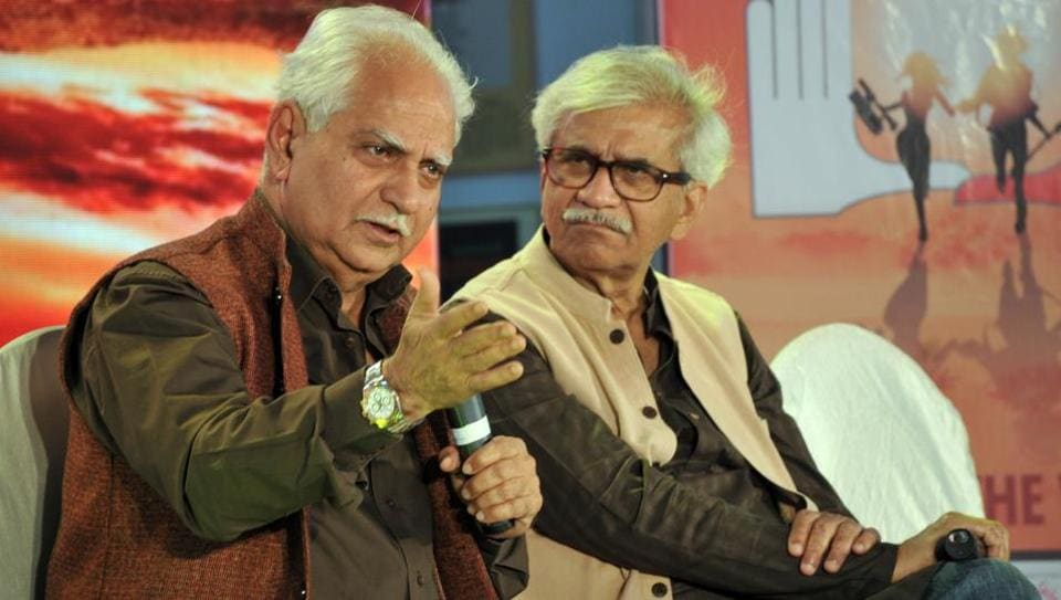 (From left) Director Ramesh Sippy and Jabbar Patel at the PIFFforum on Friday.