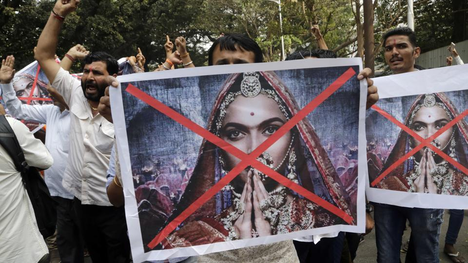 People shouts slogans to demand ban on Bollywood movie Padmavat near the Central Board of Film Certification center in Mumbai, India, Friday, Jan. 12, 2018.