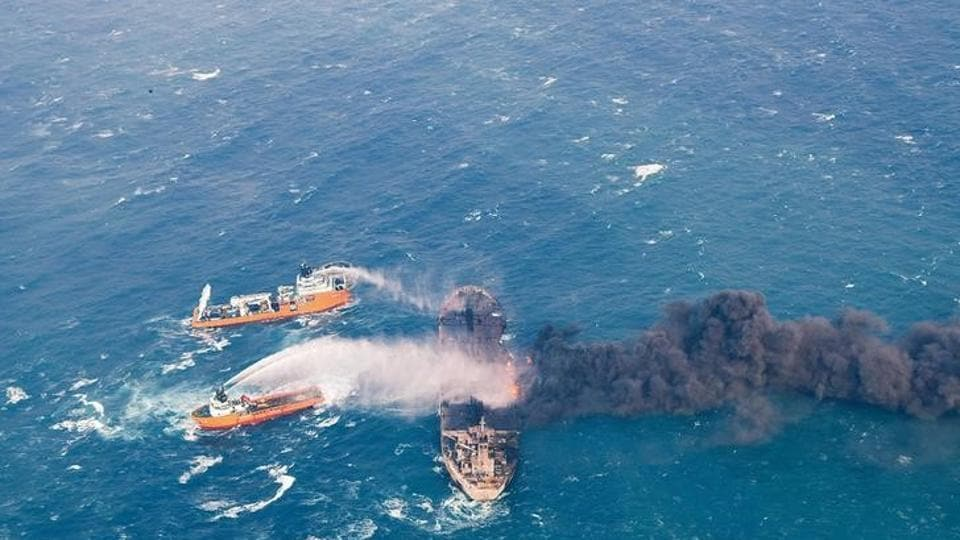 Rescue ships work to extinguish the fire on the Panama-registered Sanchi tanker carrying Iranian oil, which went ablaze after a collision with a Chinese freight ship in the East China Sea, in this January 10, 2018.