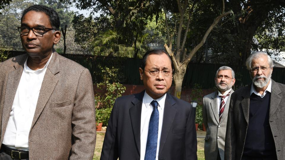 Supreme Court Judges J Chelameswar, Ranjan Gogoi, Kurian Joseph, and Madan Lokur in New Delhi. The unprecedented press conference by four judges on Friday exposed a rift within the Supreme Court collegium which came just a day after it recommended fresh appointments of judges to the Centre. (Arvind Yadav / HT PHOTO)