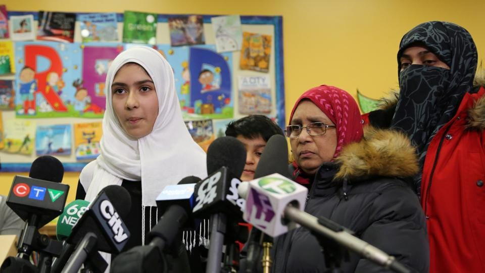 Khawlah Noman, 11, speaks to reporters with her mother at Pauline Johnson Junior Public School, after she told police that a man cut her hijab with scissors in Toronto, Ontario, Canada January 12, 2018.