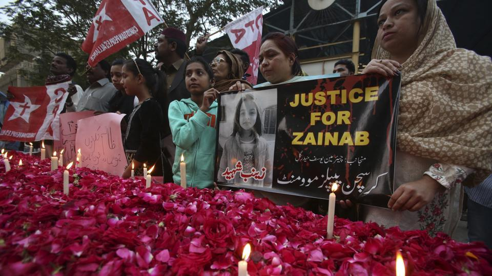 Supporters of the Christian People's Movement attend a memorial for Zainab Ansari, an 8-year-old girl who was kidnapped, raped and killed last week, in Karachi, Pakistan, Friday, Jan. 12, 2018.