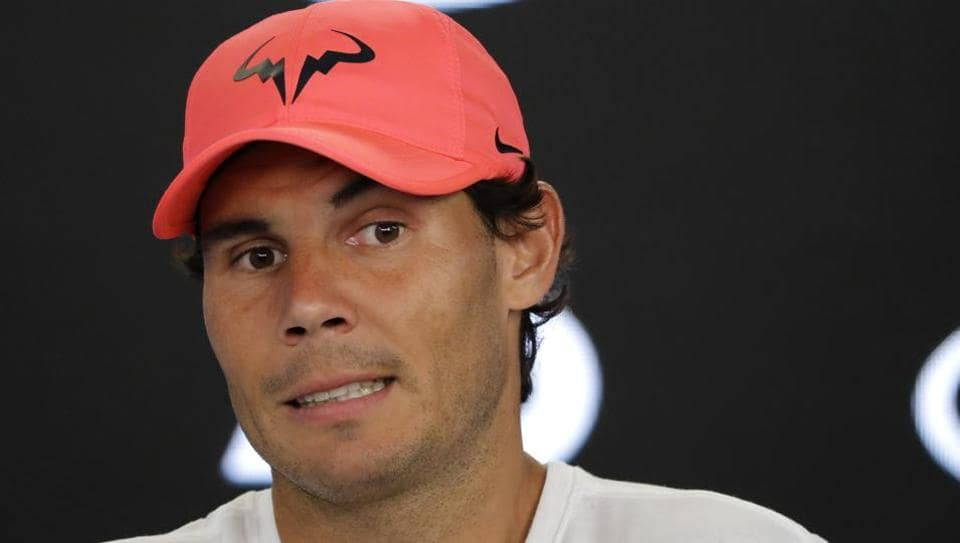 Spain's Rafael Nadal answers questions during a press conference ahead of Australian Open tennis tournament.
