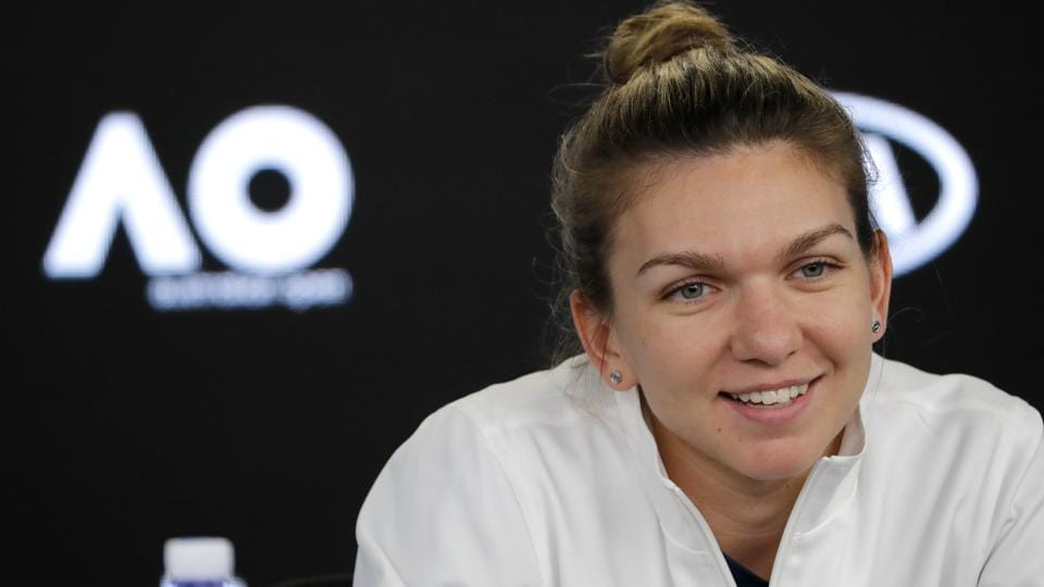 Romanian tennis star Simona Halep smiles during a press conference of the Australian Open in Melbourne on Saturday.