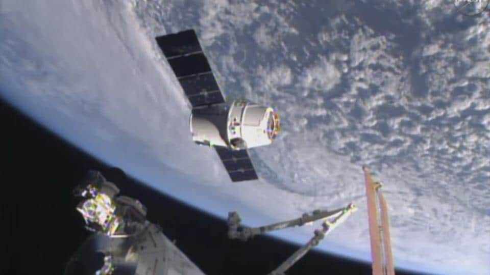 File image from NASA-TV, the SpaceX Dragon 6 resupply capsule nears the International Space Station.