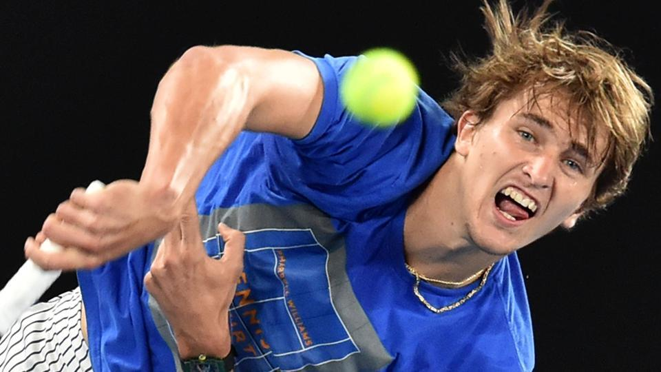 Germany's Alexander Zverev serves during a practice session ahead of the Australian Open tennis tournament.