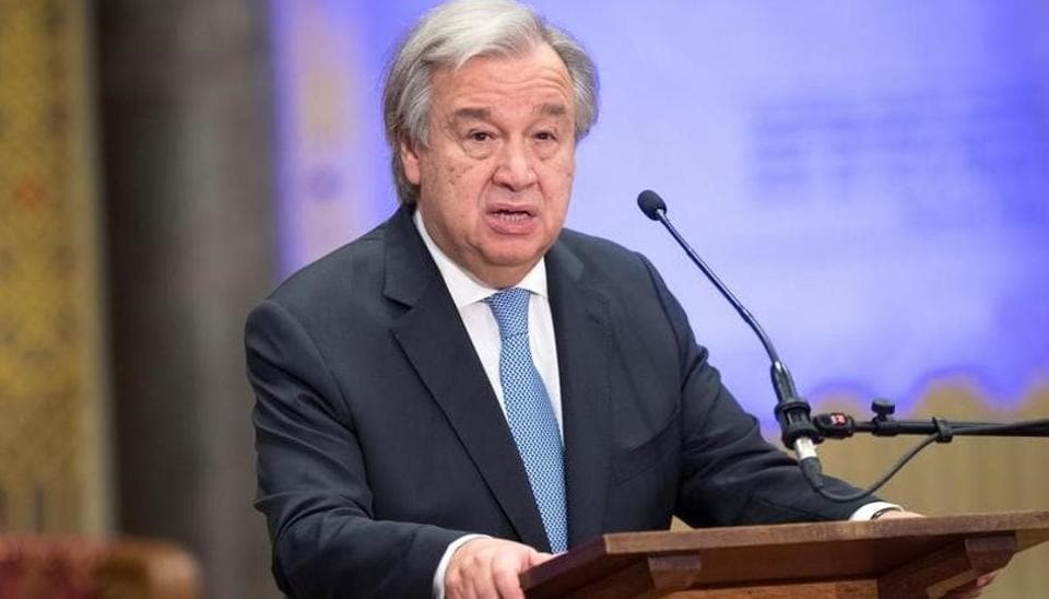 UN Secretary General Antonio Guterres speaks during the ceremony marking the closure of the UN tribunal for the former Yugoslavia in The Hague on December 21.
