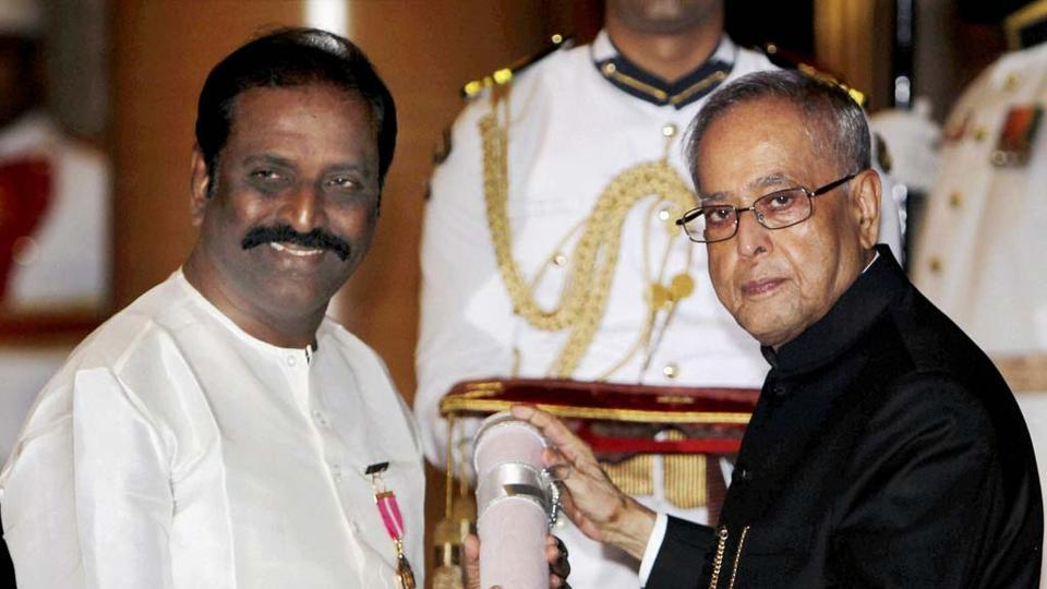 Tamil poet-lyricist Vairamuthu, receiving the Padma Bhushan from then President Pranab Mukherjee, is accused of hurting religious sentiments. (PTIfile photo)