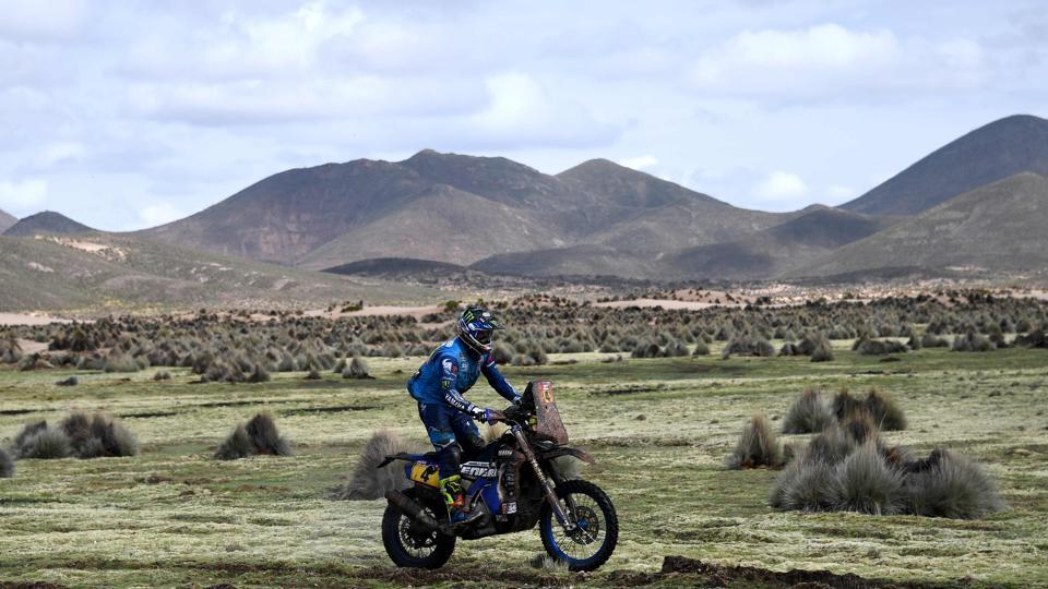 France's Adrien van Beveren, the overall leader in the motorbikes segment, powers his Yamaha during Stage 7 of the 2018 Dakar Rally between La Paz and Uyuni, Bolivia, on Saturday.