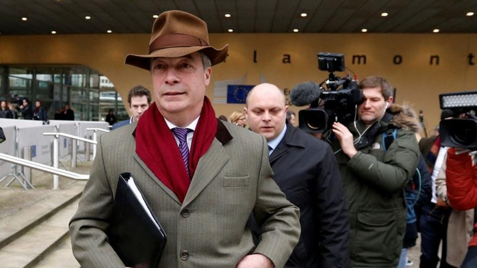 Brexit campaigner Nigel Farage leaves a meeting with European Union's chief Brexit negotiator Michel Barnier (unseen) at the EU Commission headquarters in Brussels, Belgium, January 8, 2018.