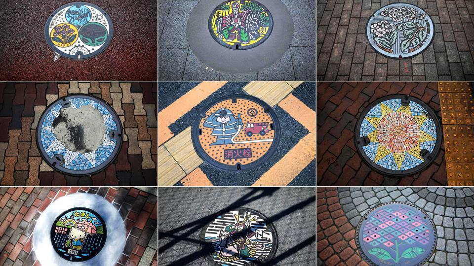 A combo photo shows designed manhole covers in different cities of Japan. Japan's sewerage industry has found a way to clean up its dirty and smelly image with elaborately designed and colourful manhole covers of 12,000 local varieties nationwide – including of course, a Hello Kitty design. They represent an instant guide to a place featuring its history, folklore, or speciality goods. (Behrouz Mehri / AFP)