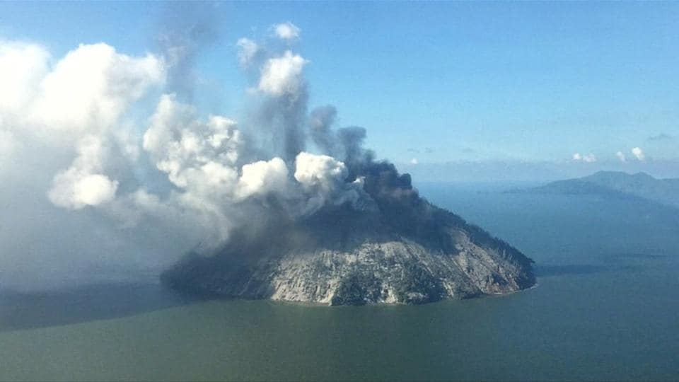 The remote island volcano of Kadovar spews ash into the sky in Papua New Guinea.