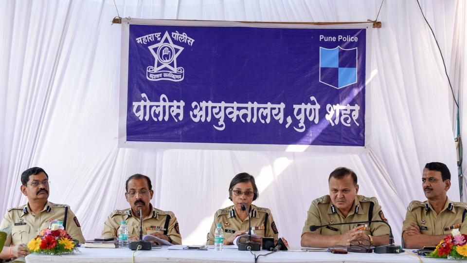 (From left) Additional commissioner of police Sahebrao Patil; additional commissioner of police Ravindra Sengaonkar; commissioner of police Rashmi Shukla; joint commissioner of police (law & order) Ravindra Kadam and additional commissioner of police Pradip Deshpande at the annual press meet.