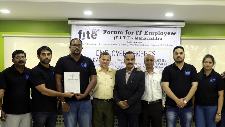 (From left) E Raja, Girish Bhave, Advocate Anoop Awasthi, Dilip Pawar, Harpreet Sahuja and Padmaja Pawar and others have formed Forum for IT Employees in Pune on Saturday.