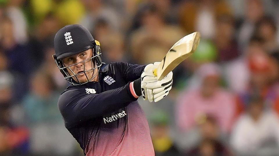 England's Jason Roy hits a shot against Australia during their ODI match in Melbourne, Australia on Sunday. England won the ODI by five wickets.