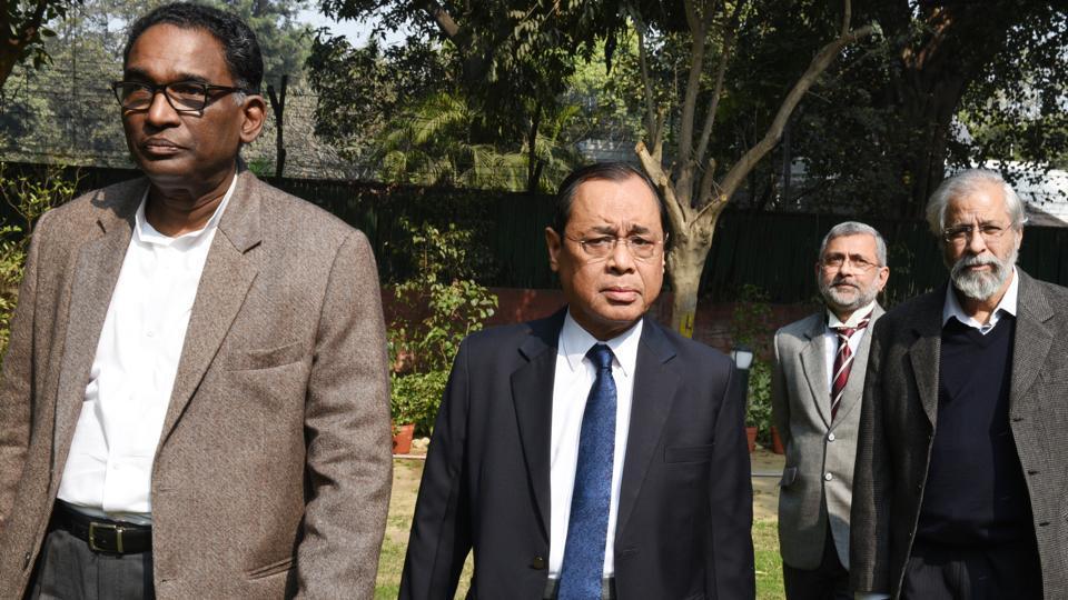Supreme Court judges (from left) J Chelameswar, Ranjan Gogoi, Kurian Joseph and Madan Lokur address the media in New Delhi, on Friday.