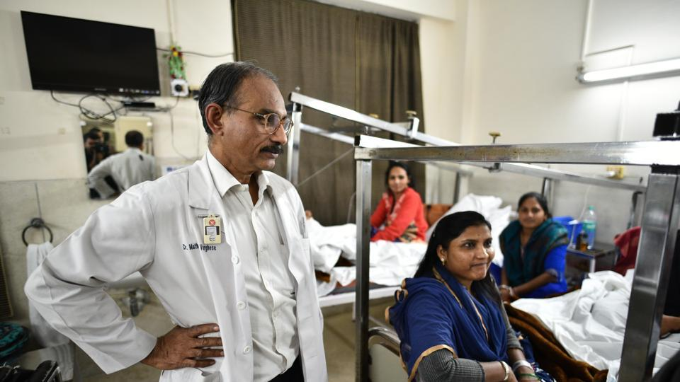Mathew Varghese's polio ward at St Stephen's Hospital has eight women in plaster and traction, all in different stages of recovery after undergoing surgeries to straighten their legs or spine.