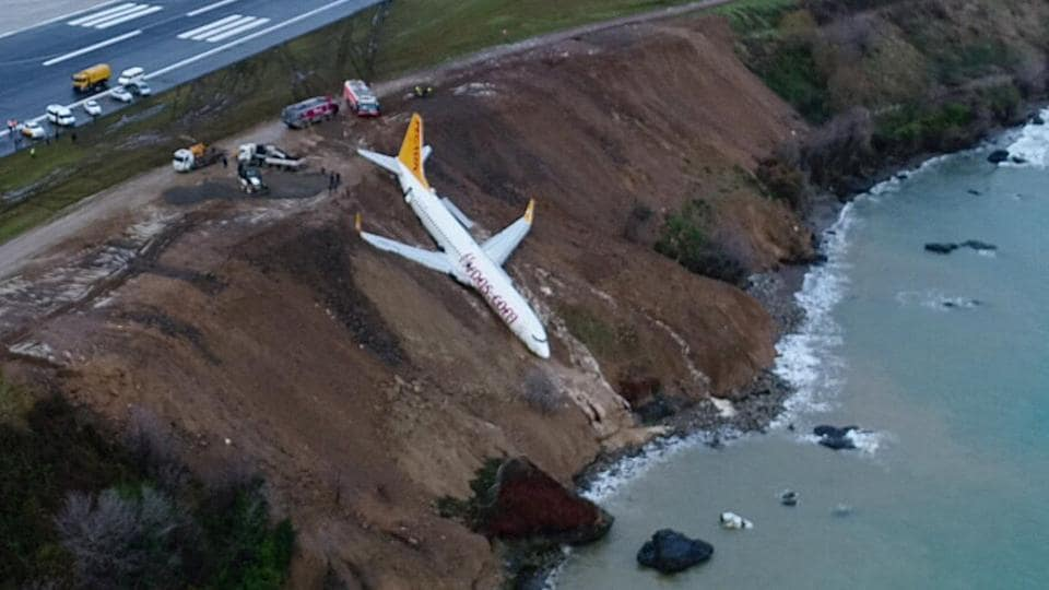 A Pegasus Airlines aircraft is pictured after it skidded off the runway at Trabzon airport by the Black Sea in Trabzon, Turkey.