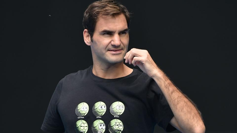 Roger Federer takes part in a practice session ahead of the Australian Open tennis tournament in Melbourne.