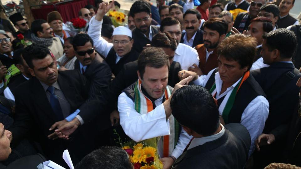 Rahul Gandhi at the Lucknow airport.