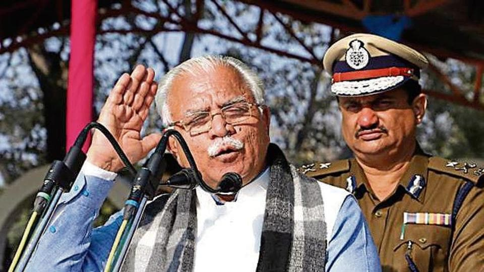 CM Manohar Lal Khattar addressing the newly recruited cops at Haryana Police Academy in Karnal on Sunday.