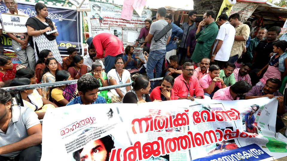 People join in the protest with Sreejith in Thiruvananthapuram on Monday.