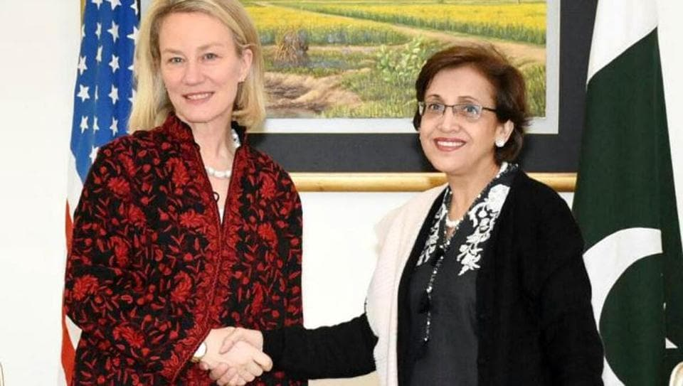 Pakistan foreign secretary Tehmina Janjua (right) with US acting assistant secretary of state Alice Wells.