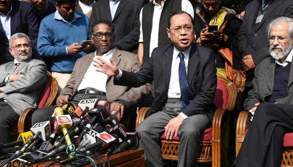 Supreme Court judges ( L-R ) Kurian Joseph, J Chelameswar, Ranjan Gogoi and MB Lokur addressed the media in New Delhi on Friday, January 12.