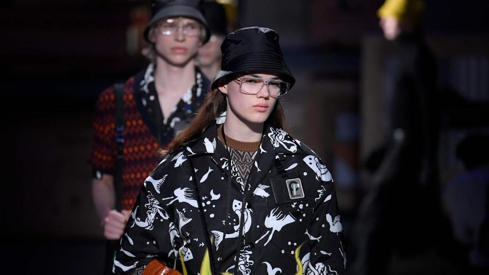 A model presents a creation for fashion house Prada during the Men's Fall/Winter 2019 fashion shows in Milan.