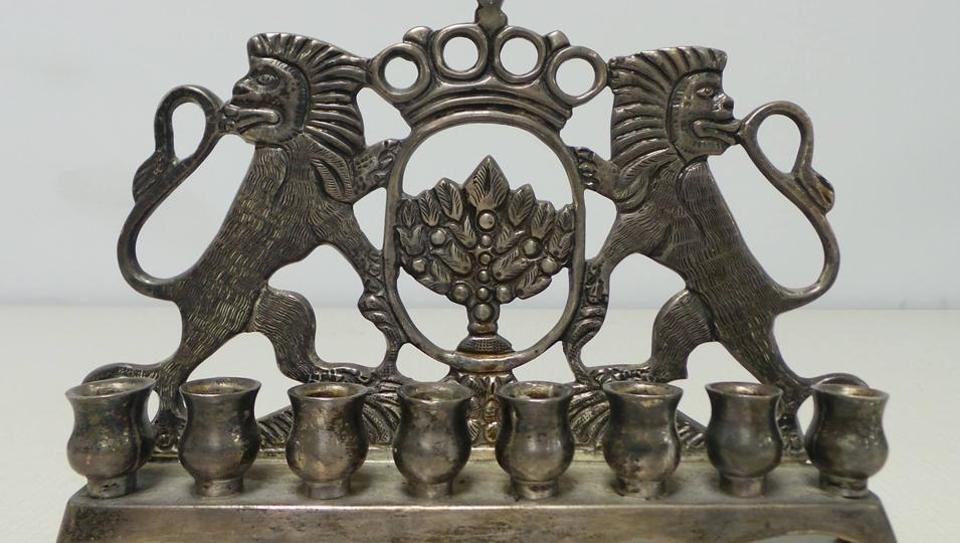This c. 19th century menorah comes from the Dr Stephen Garrin Collection at Amud Aish.